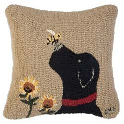dog hooked wool pillow