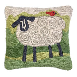 Sheep - Hooked Wool Pillow