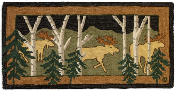 Picture of Three Birch Moose at Night