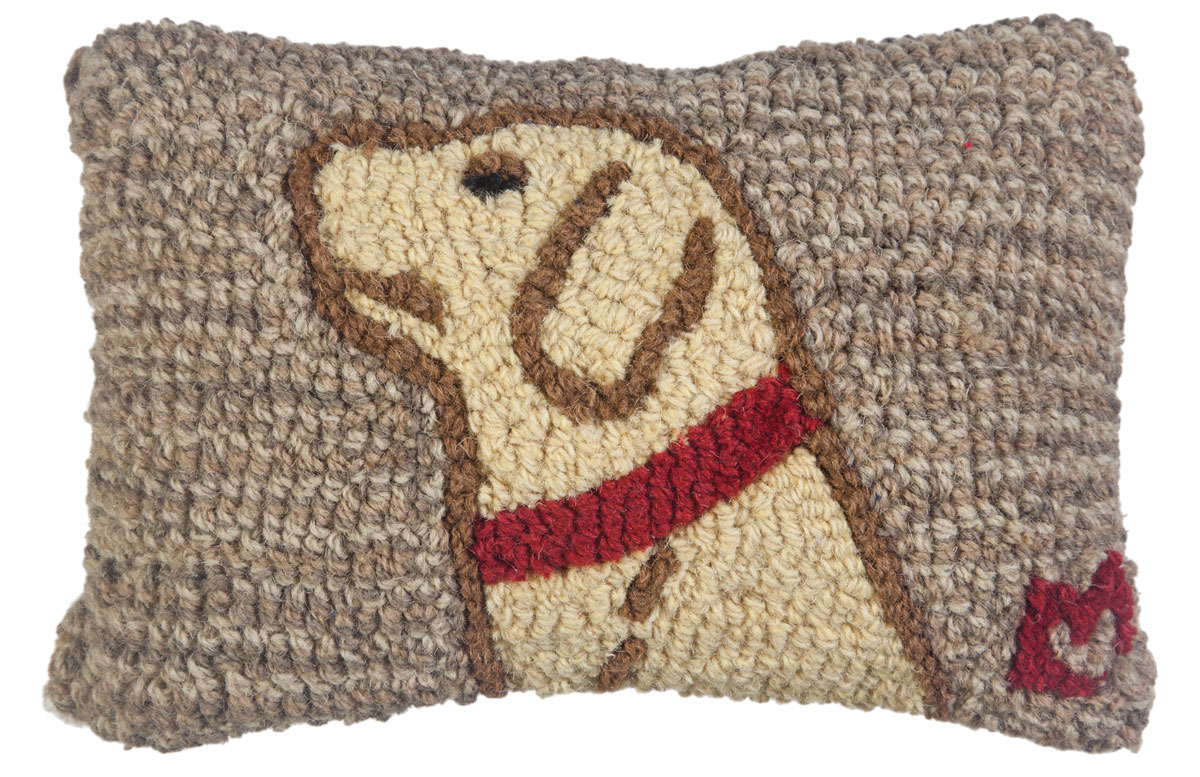 Decorative Yellow Lab Hooked Wool Pillow