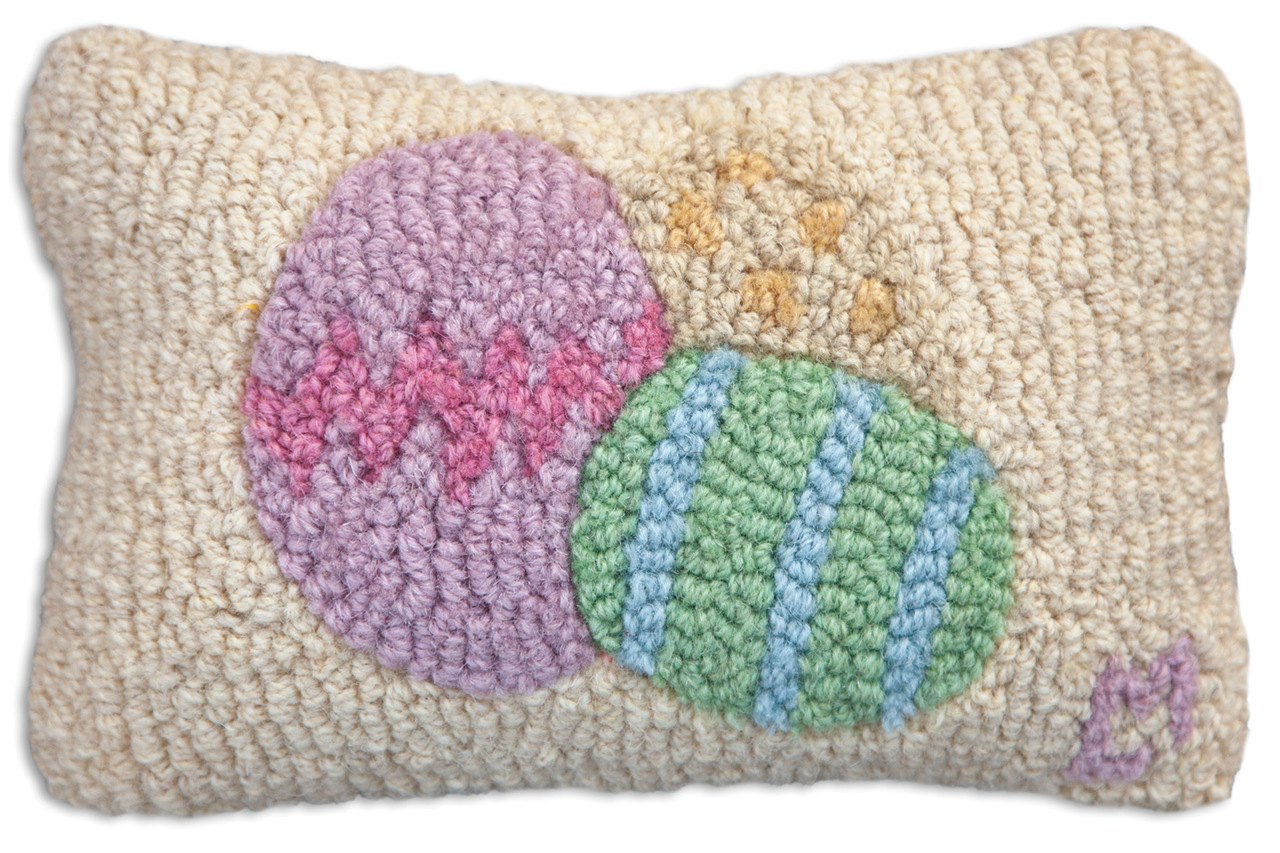Easter Egg Hooked Wool Pillow