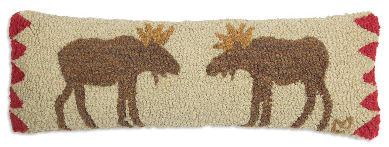 "Wild Moose Face Off in fun lodge colors on 8""x 24"" Hooked Wool ..."