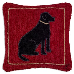Picture of Black Dog on Red