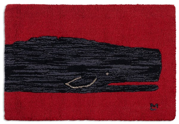 Picture of Black Whale on Red