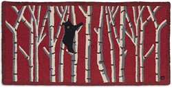 Picture of Bear in Birches on Red
